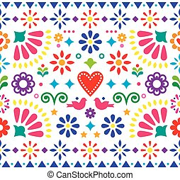 Mexican folk art vibrant seamless vector pattern, colorful design with flowers and birds inspired by traditional ornaments from Mexico