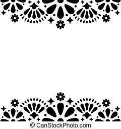 Mexican folk vector wedding or party invitation, floral happy greeting card, black and white frame design with flowers and abstract shapes