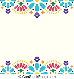Mexican folk vector wedding or party invitation, greeting card, colorful frame design with blue flowers and abstract shapes on white