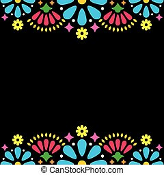 Mexican folk vector wedding or party invitation, greeting card, colorful frame design with blue flowers and abstract shapes on black