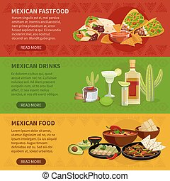 Mexican Food 3 Horizontal Banners Set