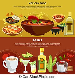 Mexican Food And Drinks Banners