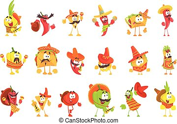 Mexican Food And Vegetables Set OF Cool Cartoon Characters In National Clothes With Guitars And Maracas, Smiling And Dancing