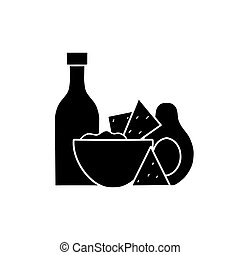 Mexican food. Avocado guacamole with nachos corn chips and spicy sauce. Black silhouette illustration of national cuisine. Vector outline picture