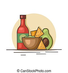 Mexican food. Avocado guacamole with nachos corn chips and spicy sauce. Contour illustration of national cuisine. Vector outline picture
