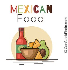 Mexican food. Avocado guacamole with nachos corn chips, spicy sauce and lettering. Contour illustration of national cuisine. Vector picture with calligraphy