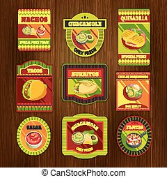 Mexican Food Bright Colorful Emblems