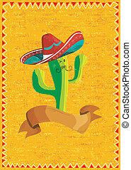 Mexican food cactus over grunge background - Mexican funny...