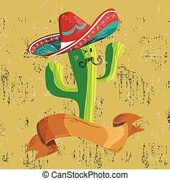 Mexican food cactus with banner - Mexican funny cactus...