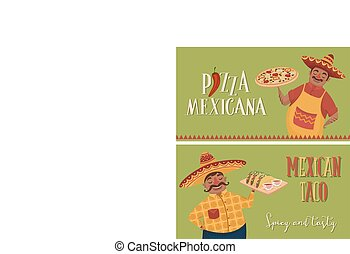 Mexican food. Chefs with pizza and tacos. Banners