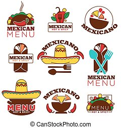 Mexican food cuisine or restaurant menu vector icon ...