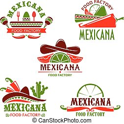 Mexican food cuisine restaurant vector icons set - Mexican ...