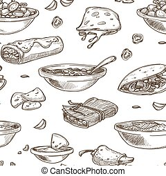 Mexican food cuisine traditional dishes sketch icon for restaurant menu seamless pattern.