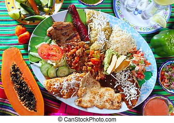 mexican food dish chili sauces papaya tequila - Assorted...