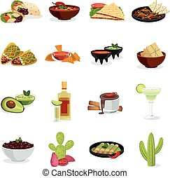 Mexican Food Flat Icons Set