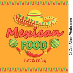 Mexican food flyer with traditional spicy.