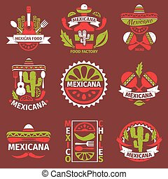 Mexican food grunge rubber vector stamps