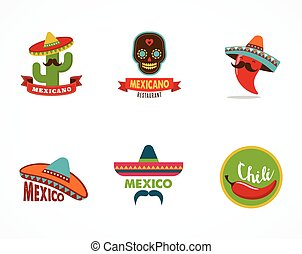 Mexican food icons, menu elements for restaurant