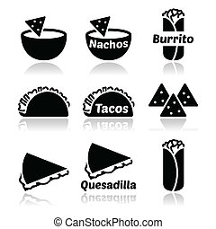 Mexican food icons - tacos, nachos, - Vector icons set of ...