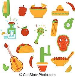 Mexican  food  icons - Vector illustration. Taco,tequile, sombrero, salsa, cactus, nachos.