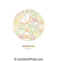Mexican food icons