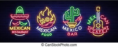 Mexican food is a collection of neon signs. Bright glow sign, neon banner, luminous logo, symbol, nightly advertisement of Mexican food. Design template for restaurant, bar, cafe. Vector illustration