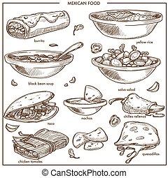 mexican food, kuchyň, tradiční, nádobí, vektor, skica,...