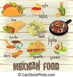 Mexican Food Menu Card with Traditional Spicy Meal on White...