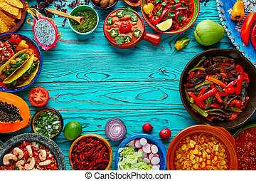 Mexican food mix colorful background Mexico - Mexican food...