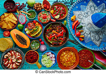Mexican food mix colorful background