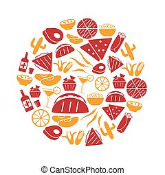 mexican food, námět, dát, o, jednoduchý ikona, do, kruh, eps10