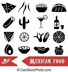 mexican food, námět, dát, o, jednoduchý ikona, eps10