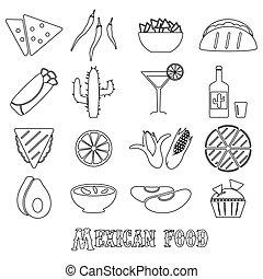 mexican food, námět, dát, o, jednoduchý, nárys, ikona, eps10