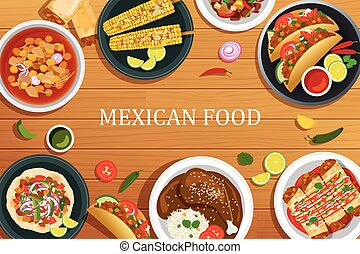 Mexican food on a wooden background.Vector mexican food top...