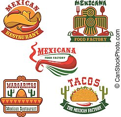 Mexican food restaurant emblem set design