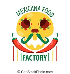 Mexican food restaurant skull and chili pepper vector icon template
