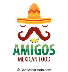 Mexican food restaurant sombrero mustaches vector icon template