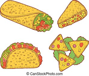Mexican food set. Graphic doodle cartoon art. Vector illustration