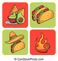 mexican food set icons menu ingredients spicy