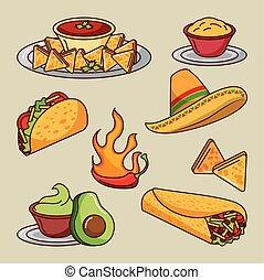 mexican food set icons menu ingredients spicy