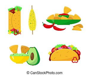 Mexican food set vector illustration.