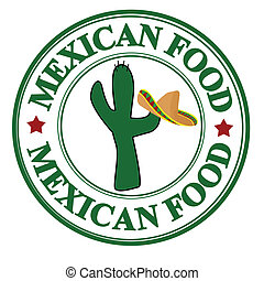 Mexican food stamp - Grunge rubber stamp with cactus and...