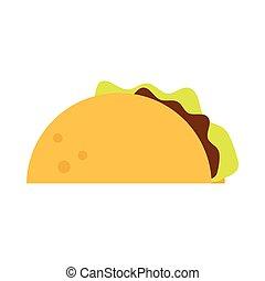 mexican food taco menu cartoon flat icon