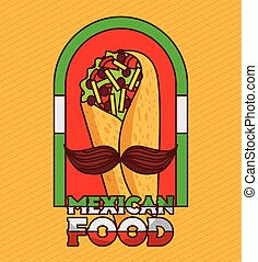 mexican food taco with mustache poster