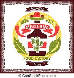 Mexican food tacos and burritos menu poster