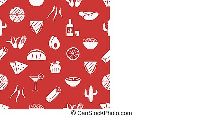 mexican food theme set of simple icons red seamless pattern eps10
