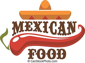 mexican food, vektor, ikona, nebo, symbol