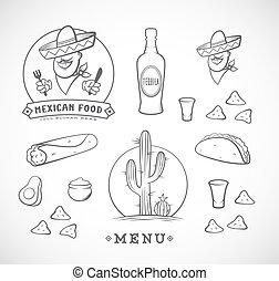 mexican food, vektor, osvětlení, dát, s, emblém, šablona,...
