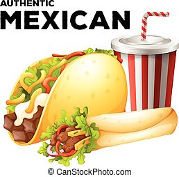 Mexican food with taco and burrito