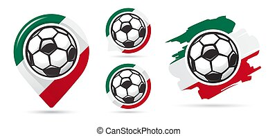 Mexican football vector icons. Soccer goal. Set of football icons.